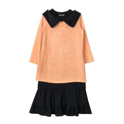 block collar knit t-shirt & double tiered skirt